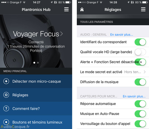 App mobile de Plantronics sur iOS