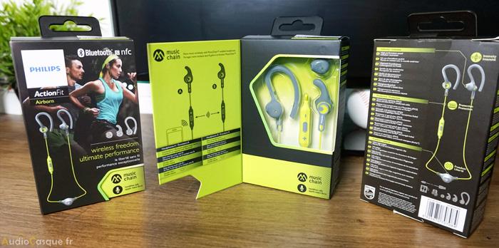 Packaging des écouteurs sport de chez Philips
