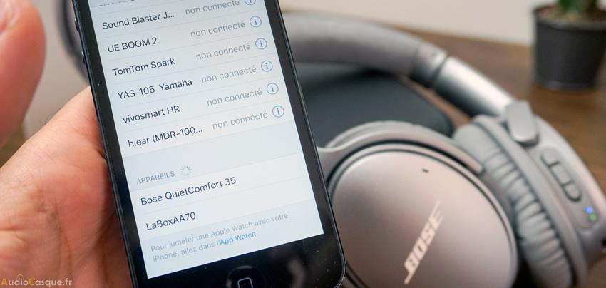 Connexion entre iPhone et casque Bluetooth Bose