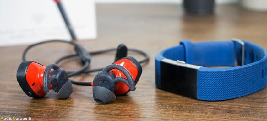 Ecouteurs sport avec fréquence cardiaque
