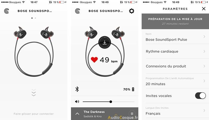 Ecran de l'app Bose Connect sur iOS