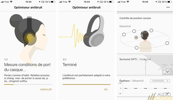 L'application permet d'ajuster le niveau de réduction active du bruit du casque
